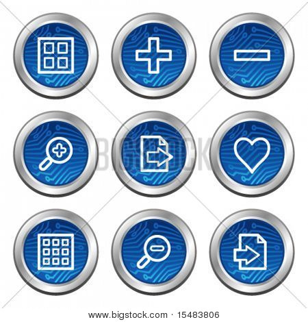 Image viewer web icons, blue electronics buttons series