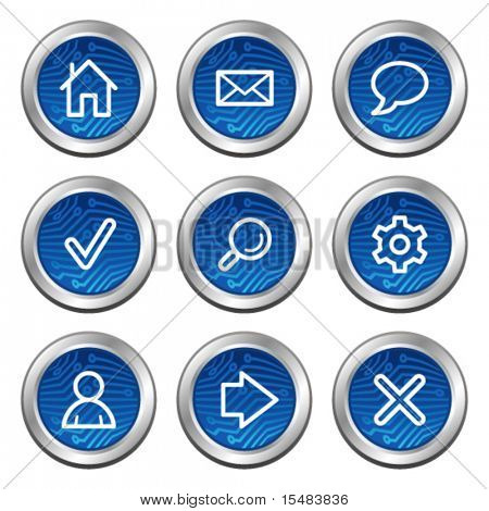 Basic web icons, blue electronics buttons series