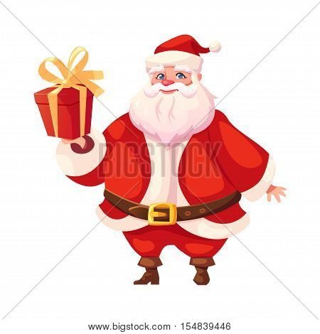 Vector illustration of Santa Claus in three-quarter pose holding christmas gift. Flat cartoon style colorful Christmas character design. Isolated funny man.