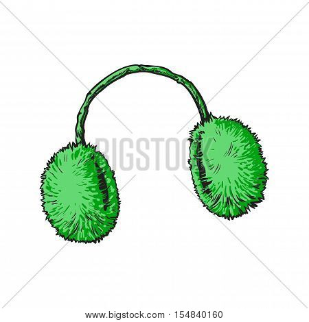 Bright green fluffy fur ear muffs, sketch style vector illustrations isolated on white background. Hand drawn fluffy ear warmers, ear muffs made of fur, winter accessory
