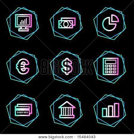 Finance web icons, neon contour series