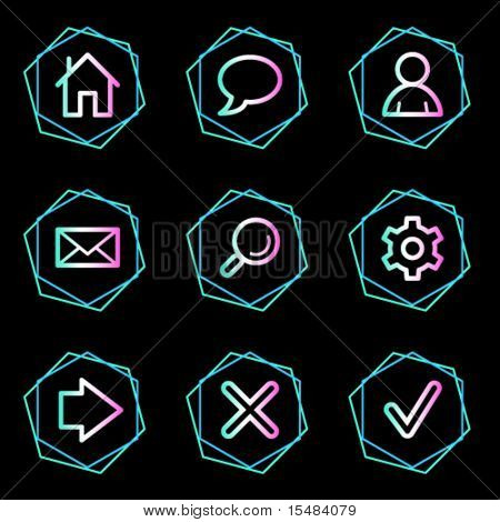 Basic web icons, neon contour series