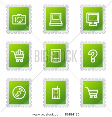 Electronics web icons, green stamp series