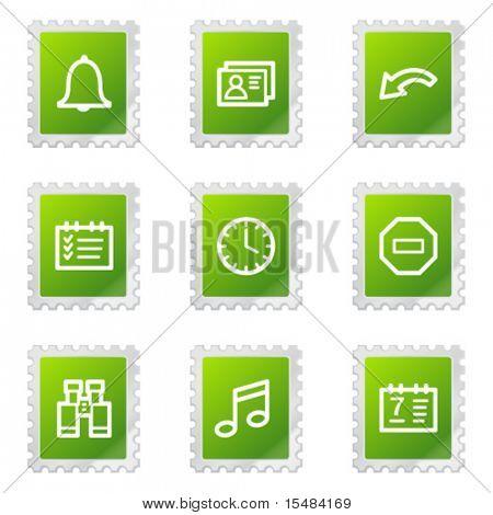Organizer web icons, green stamp series