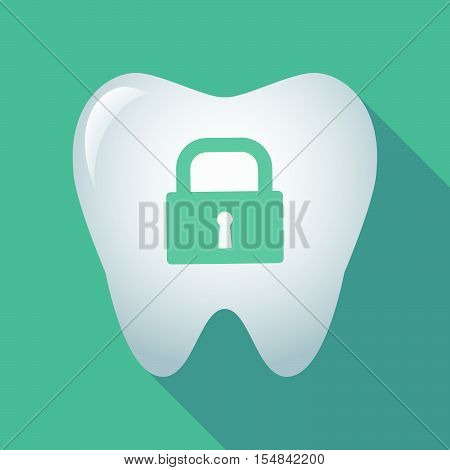 Long Shadow Tooth Icon With A Closed Lock Pad