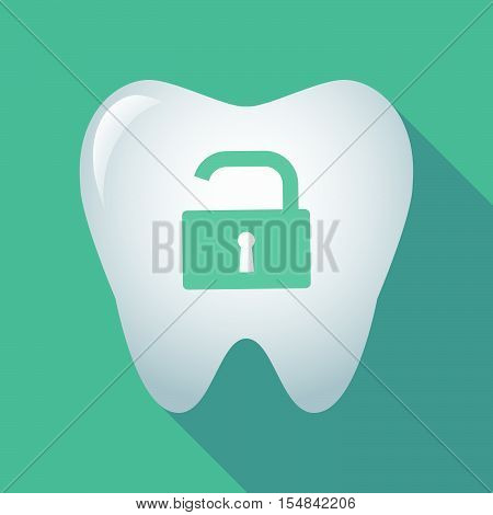 Long Shadow Tooth Icon With An Open Lock Pad