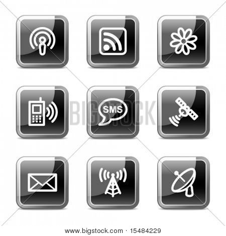 Communication web icons, black square glossy buttons series