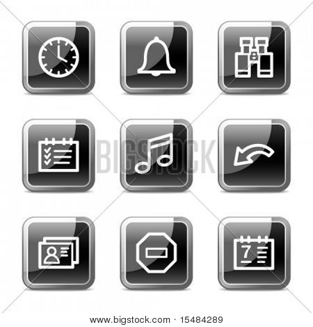 Organizer web icons, black square glossy buttons series