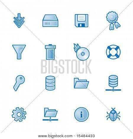 Server web icons, blue series