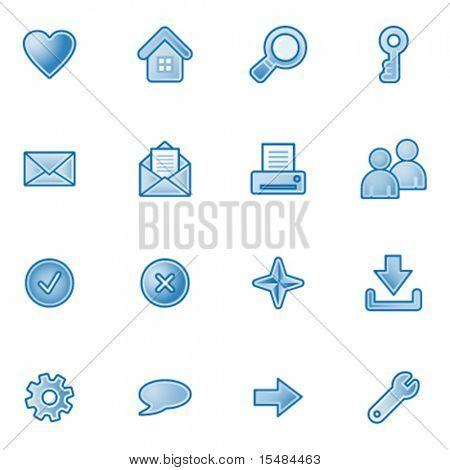 Basic web icons, blue series