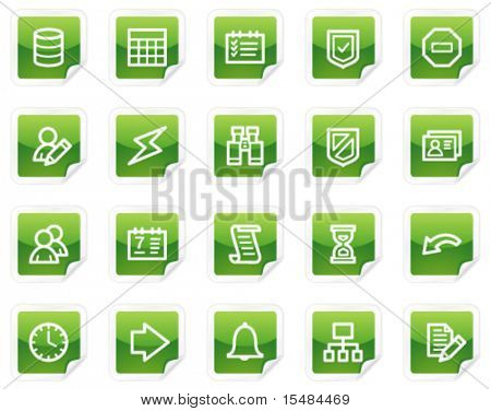 Database web icons, green sticker series