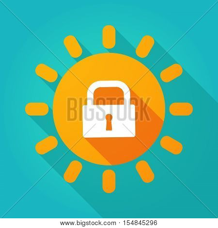 Long Shadow Bright Sun Icon With A Closed Lock Pad