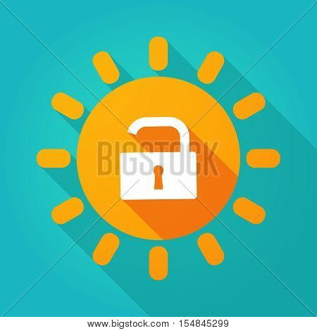 Long Shadow Bright Sun Icon With An Open Lock Pad