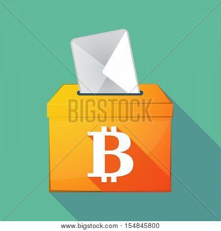 Long Shadow Coloured Ballot Box Icon With A Bit Coin Sign