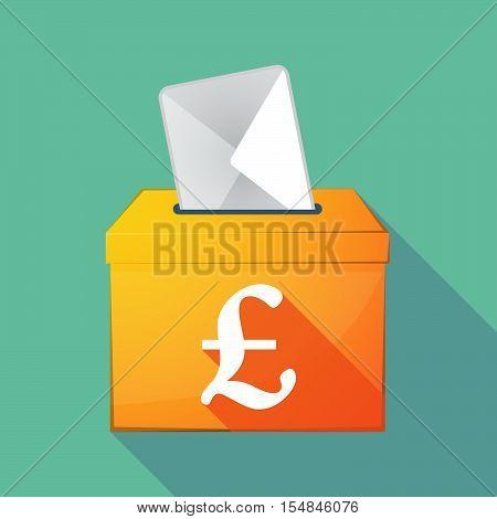 Long Shadow Coloured Ballot Box Icon With A Pound Sign