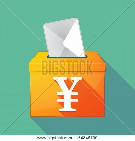 Long Shadow Coloured Ballot Box Icon With A Yen Sign