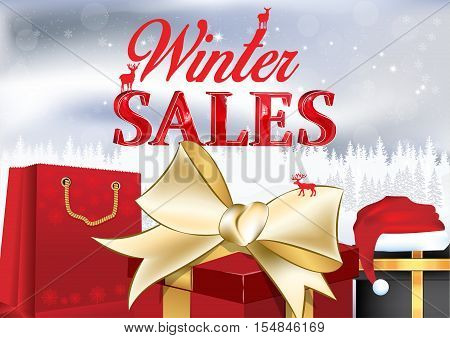 Winter sales poster with gift boxes, shopping bags and Santa's hat on a winter background. Contains 3D text. Format A3.