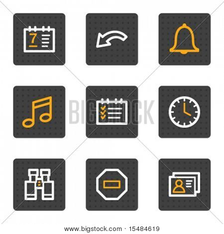 Organizer web icons, grey buttons series