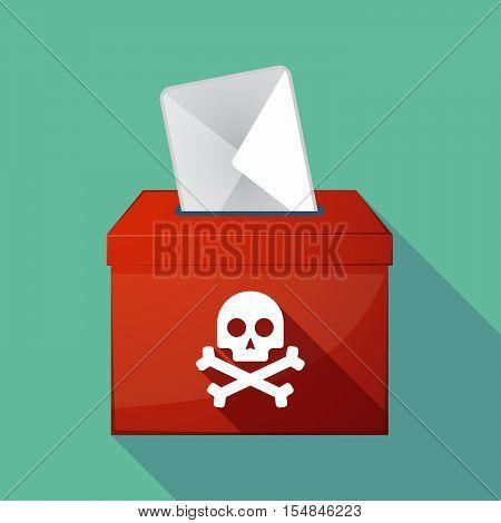 Long Shadow Coloured Ballot Box Icon With A Skull