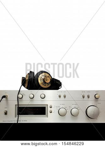 Hi Fi, high fidelity stereo retro classic vintage amplifier background with room for text or modifications, isolated on white and black