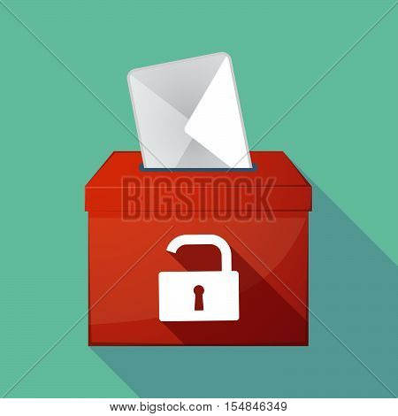 Long Shadow Coloured Ballot Box Icon With An Open Lock Pad