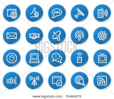 Internet web icons, blue sticker series