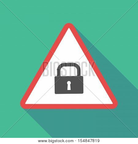 Long Shadow Triangular Warning Sign Icon With A Closed Lock Pad