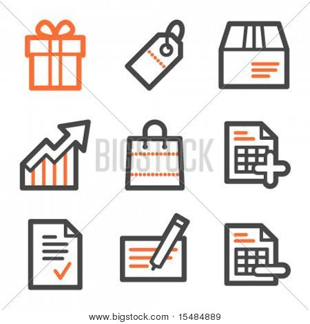 Shopping web icons, orange and gray contour series