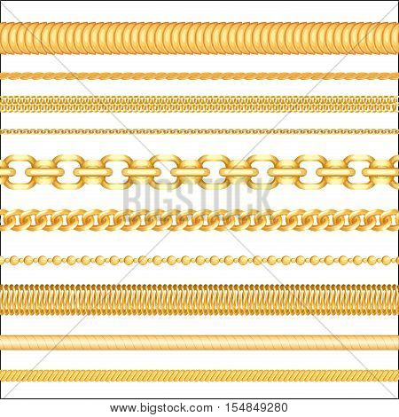 Golden Jewelry seamless chains. Realistic Jewelry pattern illustration. Gold chains link seamless elements