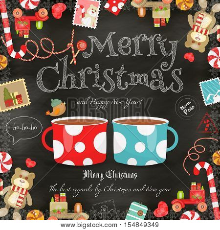 Merry Christmas and New Year Card - Holiday Frame - Two Cups of Coffee and Xmas Symbols on Blackboard Background. Vector Illustration.