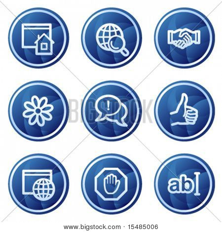 Internet communication web icons, blue circle buttons series