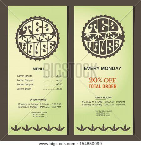 Drinks concept. Set of vertical banner templates. Green tea house logo. Round shape. Hand lettering vintage style. Stylized tea leaves. Design of organic beverages shop background. Vector illustration