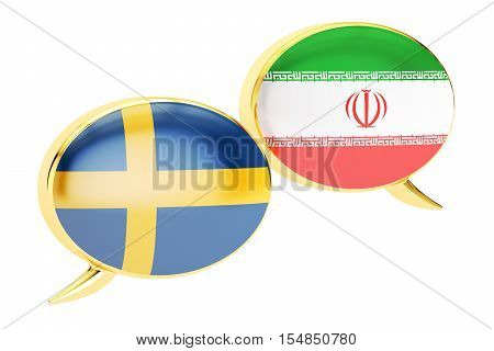 Speech bubbles Iranian-Swedish translation concept. 3D rendering