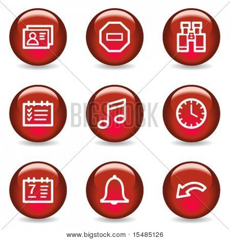 Organizer web icons, red glossy series