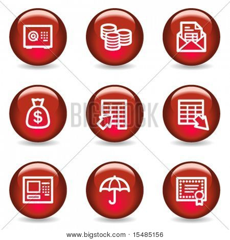 Banking web icons, red glossy series