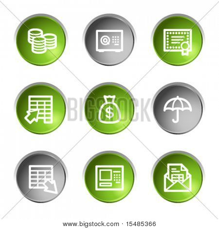Banking web icons, green and grey circle buttons series
