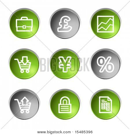 E-business web icons, green and grey circle buttons series