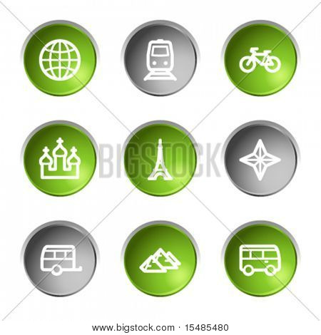 Travel web icons set 2, green and grey circle buttons series