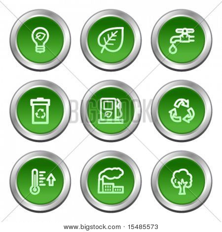 Ecology web icons, green circle buttons series