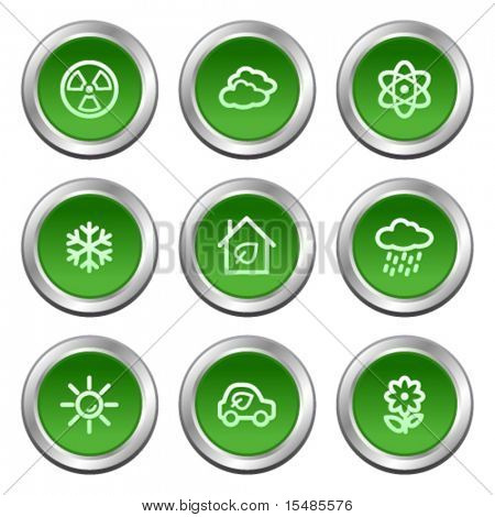 Ecology web icons set 2, green circle buttons series