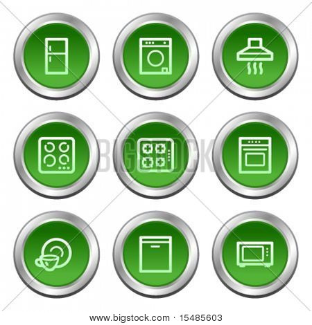 Home appliances web icons, green circle buttons series