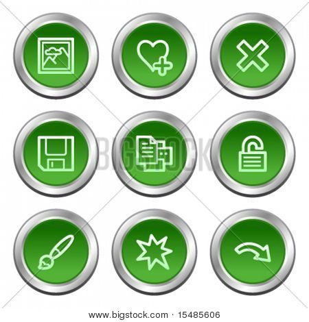 Image viewer web icons set 2, green circle buttons series