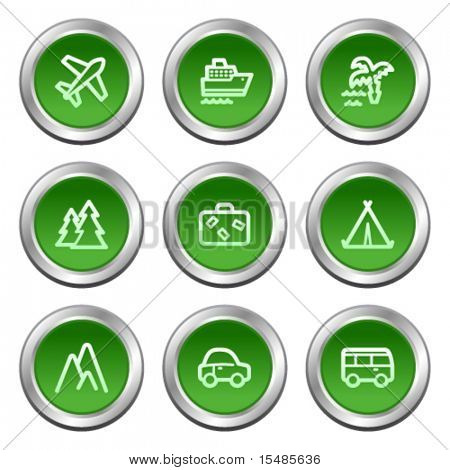 Travel web icons, green circle buttons series