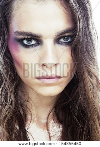 young beauty woman with makeup like shiner on face close up isolated white background real social issue concept