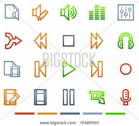 Audio video editar los iconos de la web, serie de símbolos de color