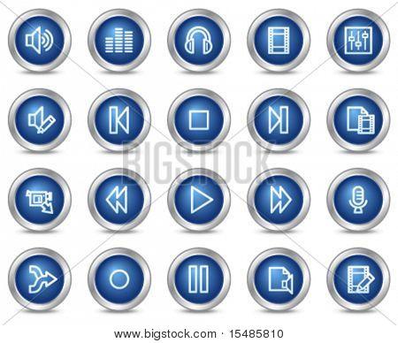 Audio video editar iconos de la web, serie de botones de círculo azul