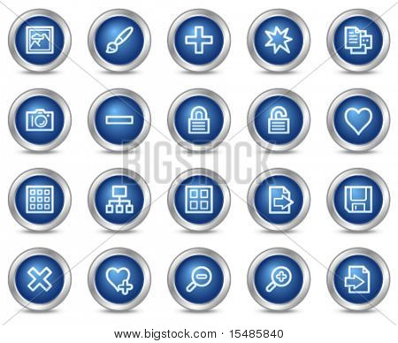 Image library web icons, blue circle buttons series