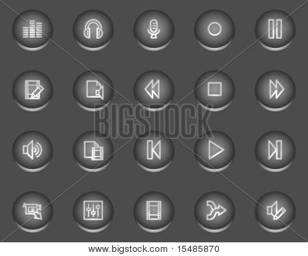 Audio video editar iconos de la web, serie de botones de metal del círculo