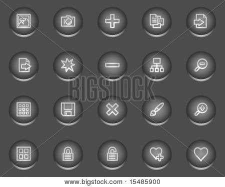 Image library web icons, metal circle buttons series
