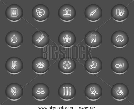 Medicine web icons, metal circle buttons series